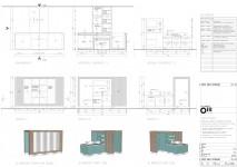 Technische tekening / Pantry / oud sloophout / geborsteld rvs / lakwerk