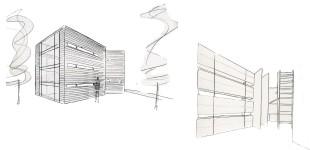 Achterzijde woning / Kastenwand en horizontale ramen