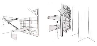 Links keukentafel / Rechts open kastenwand
