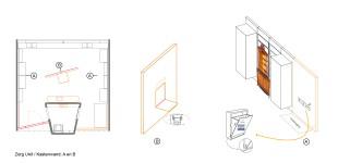 Zorg unit / Flexibele scheidingswand opgesplits in twee delen