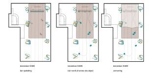 Plattegrond / Binnentuin / bar annex zit opstellingen