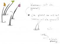bloemen plukken uit de grond in plaats van via emmers